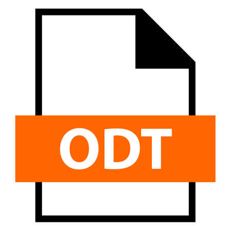 Filename extension icon ODT Open Document Format for Office Applications in flat style Vector illustration