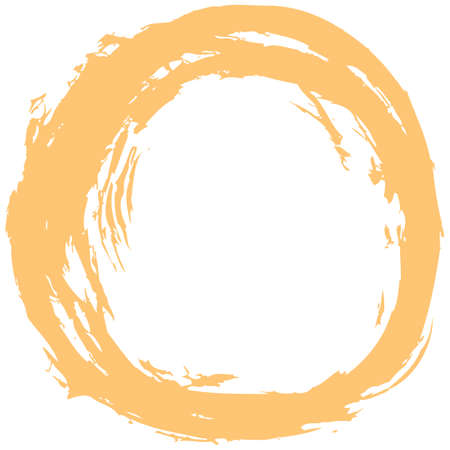 Yellow brush stroke in the form of a circle Vector illustration Illustration