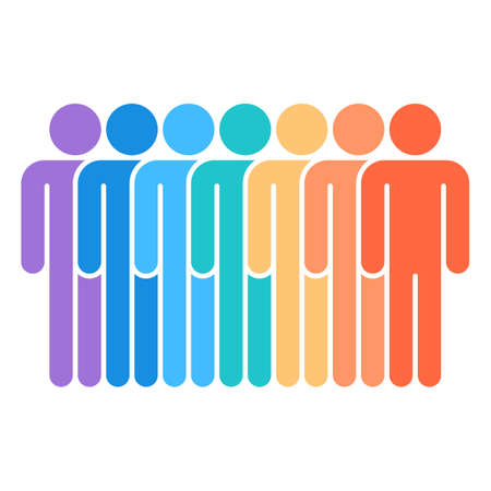 Seven men stand with his hands down Vector illustration