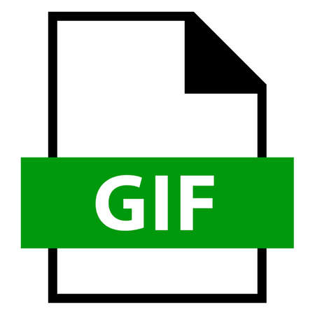 Use it in all your designs. Filename extension icon GIF Graphics Interchange Format in flat style. Quick and easy recolorable shape. Vector illustration a graphic element. Illustration
