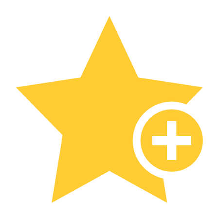 addendum: Flat star icon favorite sign bookmark yellow gold button with plus pictogram. Quick and easy recolorable shape isolated from background. Vector illustration a graphic element for web internet design