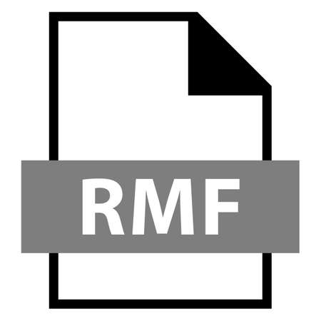 file type: Use it in all your designs. Filename extension icon RMF Rich Music Format in flat style. Quick and easy recolorable shape. Vector illustration a graphic element.