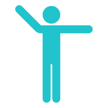 Use it in all your designs. Man stands with raised his hands. Quick and easy recolorable shape. Vector illustration a graphic element