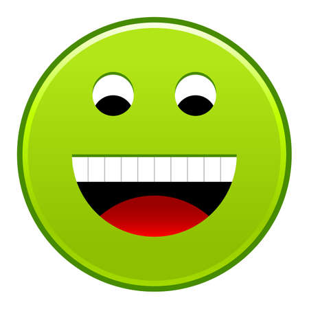 Green smiling face cheerful smiley happy emoticon. Quick and easy recolorable shape isolated from background. Vector illustration a graphic element for web internet design.