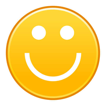 Yellow smiling face cheerful smiley happy emoticon. Quick and easy recolorable shape isolated from background. Vector illustration a graphic element for web internet design. Illusztráció