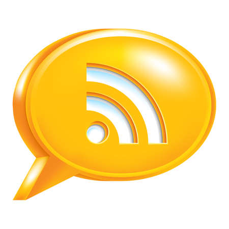 really simple syndication: Use it in all your designs. Orange speech bubble Icon with RSS sign or Wi-Fi signal. Illustration