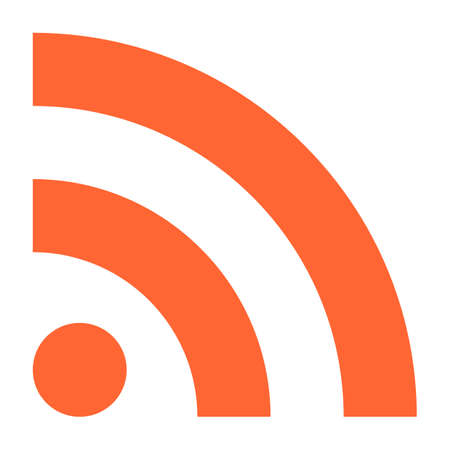 really simple syndication: Flat RSS or WiFi icon really simple syndication sign subscribe button. Quick and easy recolorable shape isolated from background. Vector illustration a graphic element for web internet design.