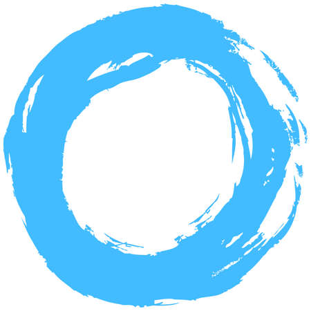 Use it in all your designs. Blue brush stroke in the form of a circle. Inking drawing created in sketch handmade technique. Quick and easy recolorable shape. Vector illustration a graphic element Illustration