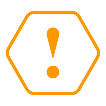 Use it in all your designs. Thin line style exclamation mark icon warning sign attention button in hexagon shape. Vector illustration a graphic element for web internet design. Vectores
