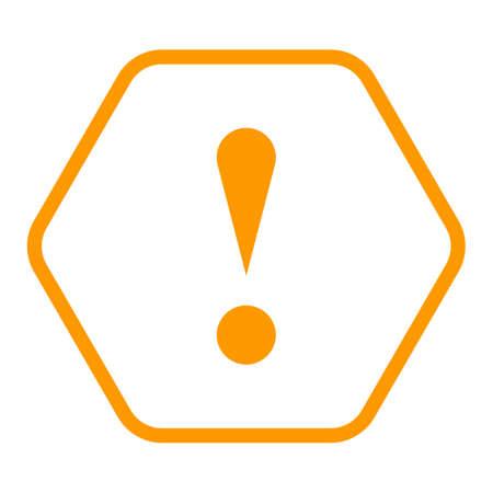Gebruik het in al uw ontwerpen. Dunne lijn stijl uitroepteken pictogram waarschuwingsteken aandachtsknop in zeshoekige vorm. Vector illustratie een grafisch element voor web internet ontwerp. Stock Illustratie