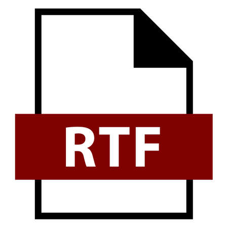 Use it in all your designs. Filename extension icon RTF Rich Text Format in flat style. Quick and easy recolorable shape. Vector illustration a graphic element. Illustration