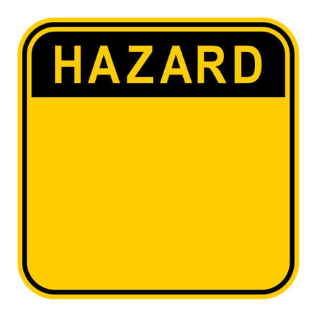 rectangle: Use it in all your designs. Empty safety sign board with word Hazard. Sticker square-shaped painted in black and yellow colors. Quick and easy recolorable graphic element in vector illustration
