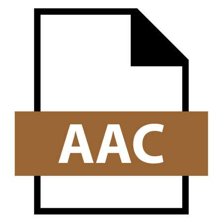 모든 디자인에서 사용하십시오. 파일 이름 확장 아이콘 AAC 플랫 오디오 형식의 고급 오디오 코딩. 빠르고 쉬운 recolorable 모양. 벡터 일러스트 레이 션
