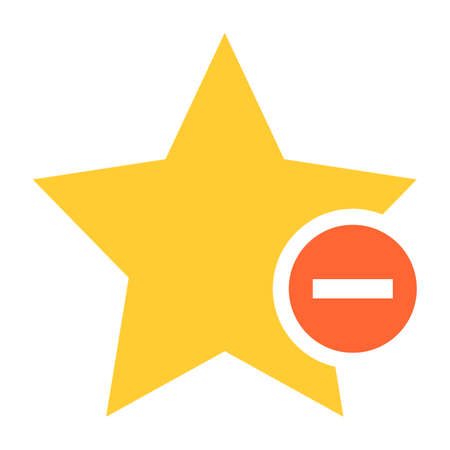 Flat star icon favorite sign bookmark yellow gold button with minus pictogram. Quick and easy recolorable shape isolated from background. Vector illustration a graphic element for web internet design Illustration