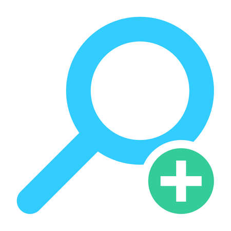 Flat magnifier icon magnifying glass sign loupe button with plus sign. Quick and easy recolorable shape isolated from background. Vector illustration a graphic element for web internet design