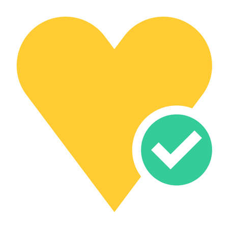 Flat heart icon favorite sign liked button with check mark pictogram. Quick and easy recolorable shape isolated from background. Vector illustration a graphic element for web internet design