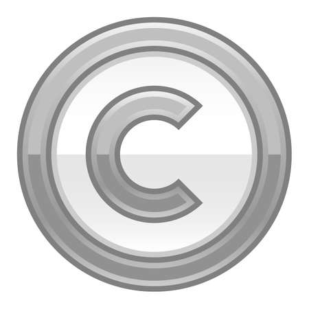 patent key: Use it in all your designs. The copyright symbol, or copyright sign, a circled capital letter C. Grey rounded glossy button web internet icon. Vector illustration a graphic element for design.