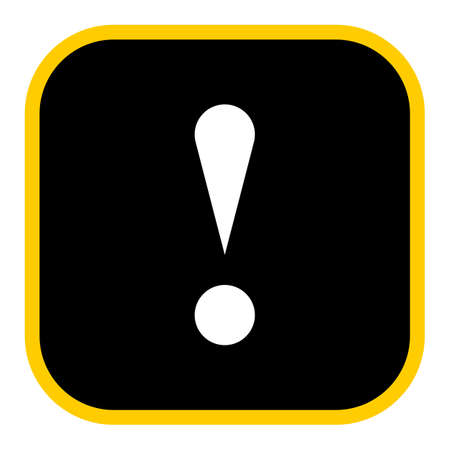Use it in all your designs. Flat style exclamation mark icon warning sign attention button in square shape. Vector illustration a graphic element for web internet design