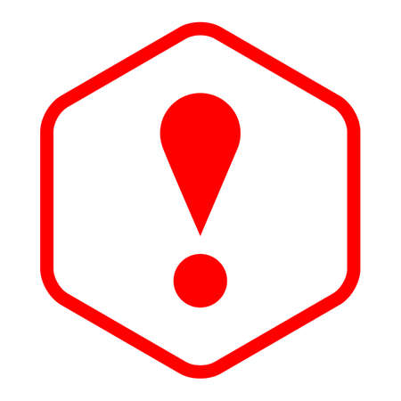 Use it in all your designs. Thin line style exclamation mark icon warning sign attention button in sexangle shape. Vector illustration a graphic element for web internet design