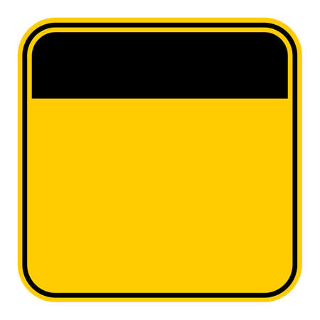 rectangle: Use it in all your designs. Empty safety sign board. Sticker square-shaped painted in black and yellow colors. Quick and easy recolorable graphic element in technique vector illustration