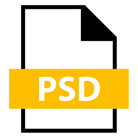 Use it in all your designs. Filename extension icon PSD PhotoShop Document in flat style. Quick and easy recolorable shape. Vector illustration a graphic element. Illustration