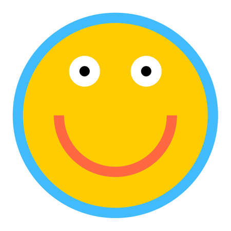 joyfulness: Use it in all your designs. Smiley happy smiling face emoticon icon in flat style. Quick and easy recolorable shape. Vector illustration a graphic element