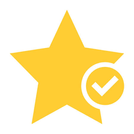 Flat star icon favorite sign bookmark yellow gold button with check mark pictogram. Vector illustration a graphic element for web internet design