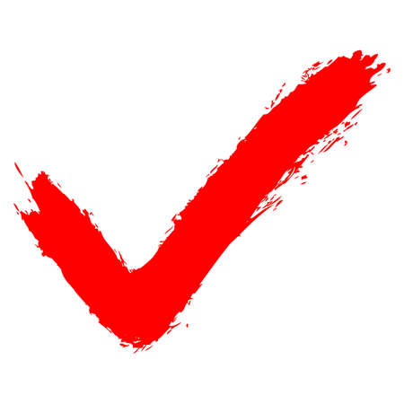 addition: Red check mark sign addition icon. Quick and easy recolorable shape. Vector illustration a graphic element for web internet design.