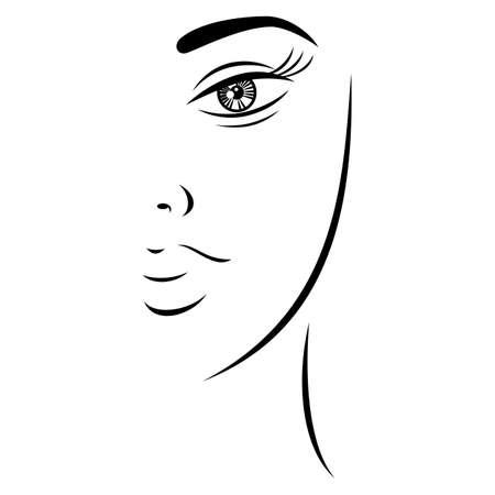 Esquisse dessin joli visage de femme avec un regard mystérieux. Forme recolorable rapide et facile isolée du fond. Illustration vectorielle un élément graphique pour le design artistique.