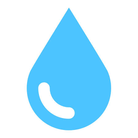 Blue water drop icon. Simple, solid, plain, flat style. Vector illustration a graphic element for design