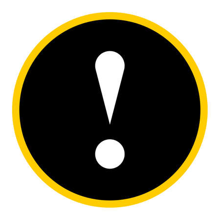Flat style exclamation mark icon warning sign attention button in circle shape. Vector illustration a graphic element for web internet design.