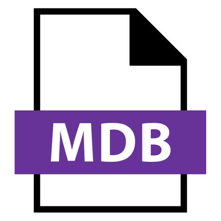 rectangle: Use it in all your designs. Filename extension icon MDB Microsoft Database File Format in flat style. Quick and easy recolorable shape. Vector illustration a graphic element.