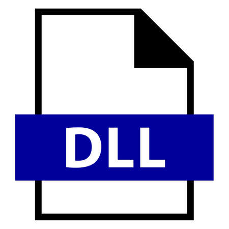 rectangle: Use it in all your designs. Filename extension icon DLL Dynamic Link Library in flat style. Quick and easy recolorable shape. Vector illustration a graphic element. Illustration