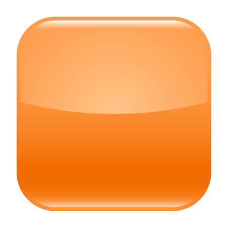Orange glossy button blank icon square empty shape isolated form background. Vector illustration a graphic element for web internet design Illustration
