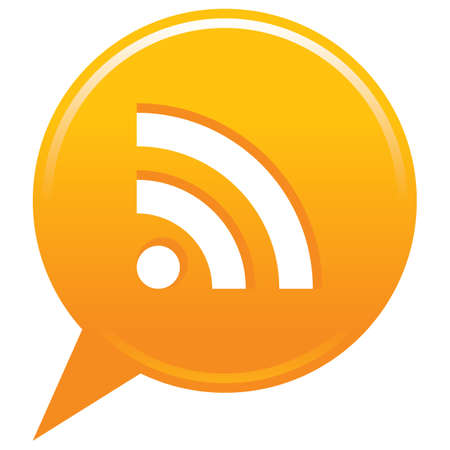 本当に単純なシンジケーション記号オレンジ マップ ピン ボタン。フラットの位置アイコンの円図形分離フォームです。インターネットの web デザイ