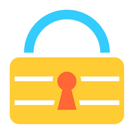 private security: Flat padlock icon lock sign password button. Quick and easy recolorable shape isolated from background. Vector illustration a graphic element for web internet design.