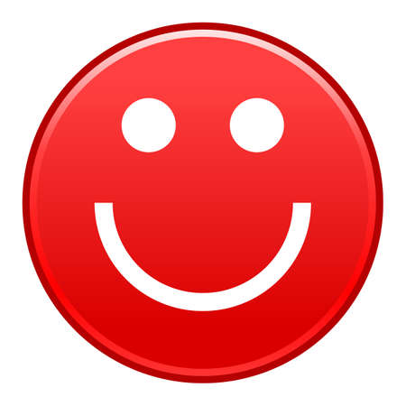 Red smiling face cheerful smiley happy emoticon. Quick and easy recolorable shape isolated from background. Vector illustration a graphic element for web internet design. Illusztráció