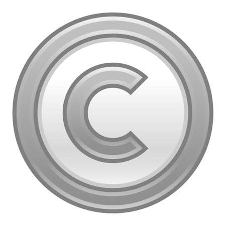 patent key: Use it in all your designs. The copyright symbol, or copyright sign, a circled capital letter C. Grey rounded matte button web internet icon. Vector illustration a graphic element for design.