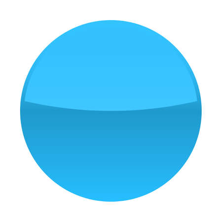 Blue glossy button blank round icon circle empty shape isolated form background. Vector illustration a graphic element for web internet design Illusztráció