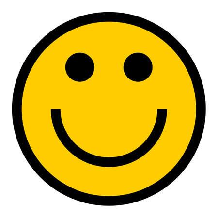 Buźka szczęśliwy uśmiechnięta twarz emotikon w płaski. Szybki i łatwy kształt do ponownego kolorowania. Ilustracja wektorowa element graficzny