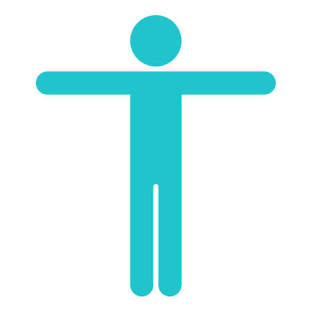 Use it in all your designs. Man stands with spreads his hands. Quick and easy recolorable shape. Vector illustration a graphic element