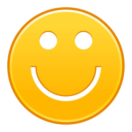 Yellow smiling face cheerful smiley happy emoticon. Quick and easy recolorable shape isolated from background. Vector illustration a graphic element for web internet design