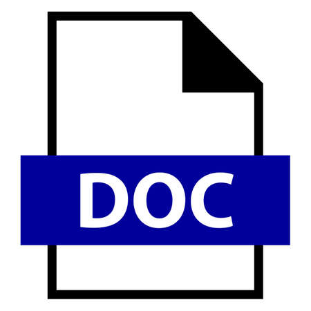 Use it in all your designs. Filename extension icon DOC Microsoft Word Binary File Format in flat style. Quick and easy recolorable shape. Vector illustration a graphic element.