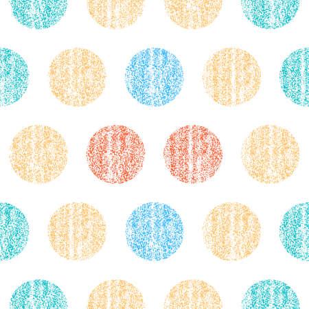 すべてのデザインに使用します。色の水玉模様のシームレスなパターン。古い塗装の質感を持つ円形。レトロなビンテージ壁紙。ベクトル イラスト   イラスト・ベクター素材