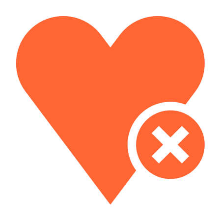 Flat heart icon favorite sign liked button with delete pictogram. Quick and easy recolorable shape isolated from background. Vector illustration a graphic element for web internet design