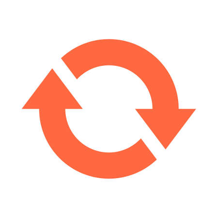 Arrow sign direction icon navigation button reload, refresh, rotation, loop, repetition, reset pictogram. Vector illustration a graphic element for design