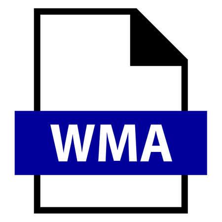 모든 디자인에서 사용하십시오. 파일 이름 확장 아이콘 WMA Windows Media 오디오 플랫 스타일. 빠르고 쉬운 recolorable 모양. 벡터 일러스트 레이 션 그래픽  일러스트
