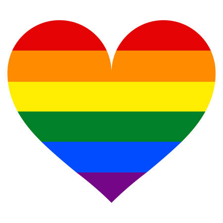 Use it in all your designs. Rainbow pride flag LGBT movement in heart shape. Quick and easy recolorable shape. Vector illustration a graphic element. Иллюстрация