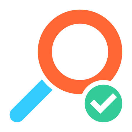 validation: Flat magnifier icon magnifying glass sign loupe button with check mark sign. Quick and easy recolorable shape isolated from background. Vector illustration a graphic element for web internet design Illustration