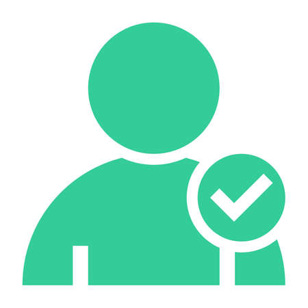userpic: Flat user icon member sign avatar button with check mark pictogram. Quick and easy recolorable shape isolated from background. Vector illustration a graphic element for web internet design Illustration